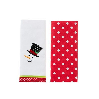 "SKL Home Snowman Face Embroidered Design Cute 2-Piece Twill Dish Towel Set 16x26"", Multi"