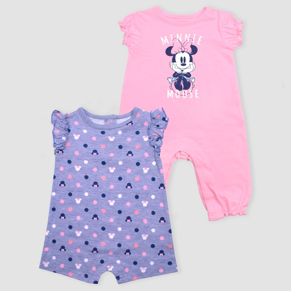 Baby Girls' Disney Minnie Mouse 2pk Rompers - Pink/Purple 6-9M, Orange