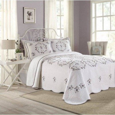 Modern Heirloom Gwen Bedspread White/Lavender