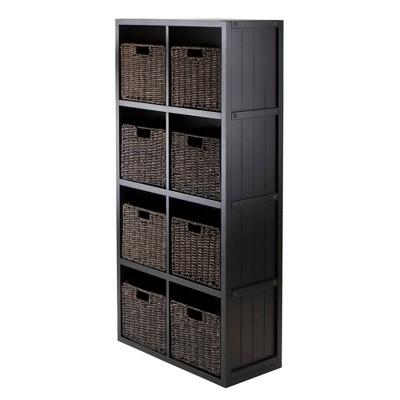 """53.11"""" 9pc Timothy Set Storage Shelf 4X2 with Baskets Black - Winsome"""