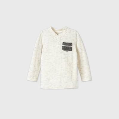 Toddler Boys' Long Sleeve Double Knit T-Shirt - Cat & Jack™ Cream 18M