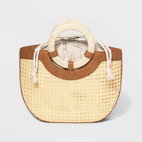 Half Moon Satchel Handbag - Universal Thread™ Natural - image 1 of 10