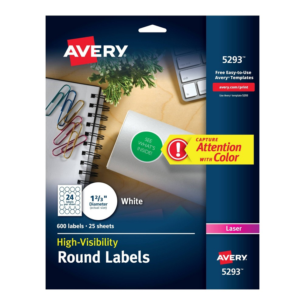 Image of Avery 1-2/3in dia High-Visibility Round Laser Labels- White (600 per Pack)