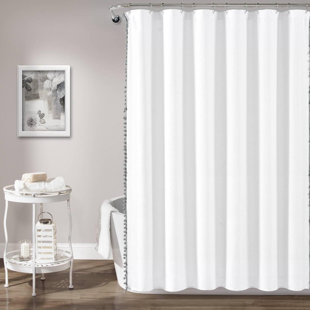"""Image of """"72""""""""x72"""""""" Pom Pom Shower Curtain Gray - Lush Décor"""""""