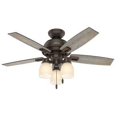 44  Donegan Three Light Onyx Bengal Ceiling Fan with Light - Hunter Fan