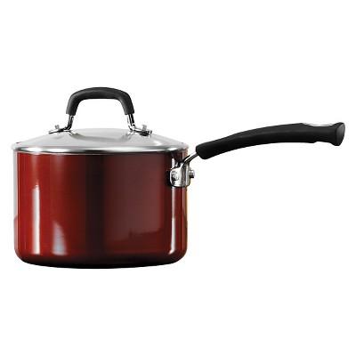 Tramontina Porcelain Enamel Aluminum Gourmet 3 Quart Nonstick Covered Sauce Pan - Red