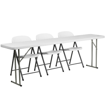 Flash Furniture 8-Foot Plastic Folding Training Table Set with 3 White Plastic Folding Chairs