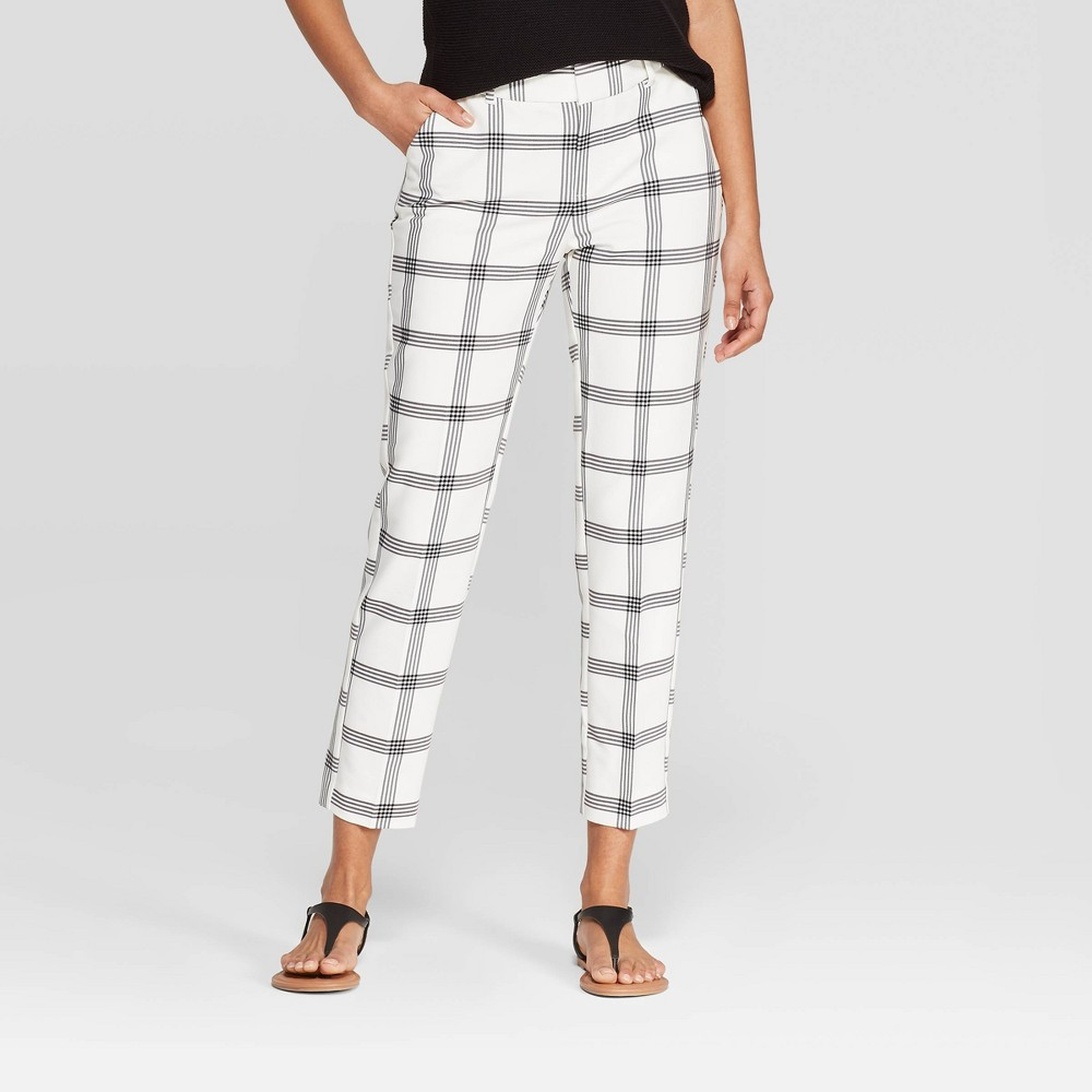 Low Price Women Plaid Mid Rise Slim Ankle Pants A New Day Cream 2 Beige