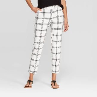Women's Plaid Mid-Rise Slim Ankle Pants - A New Day™ Cream 18