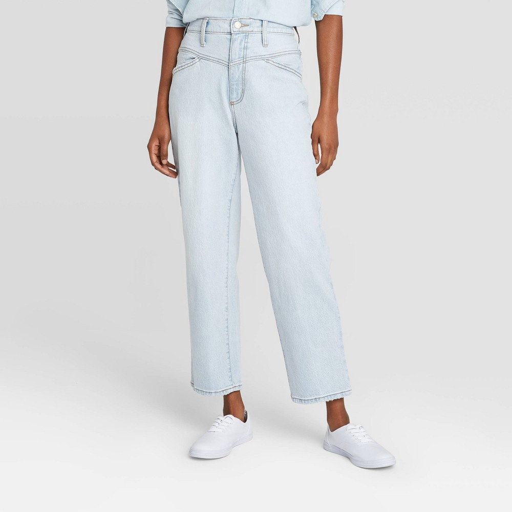 Women 39 S High Rise Vintage Straight Cropped Jeans Universal Thread 8482 Light Wash 14 Short