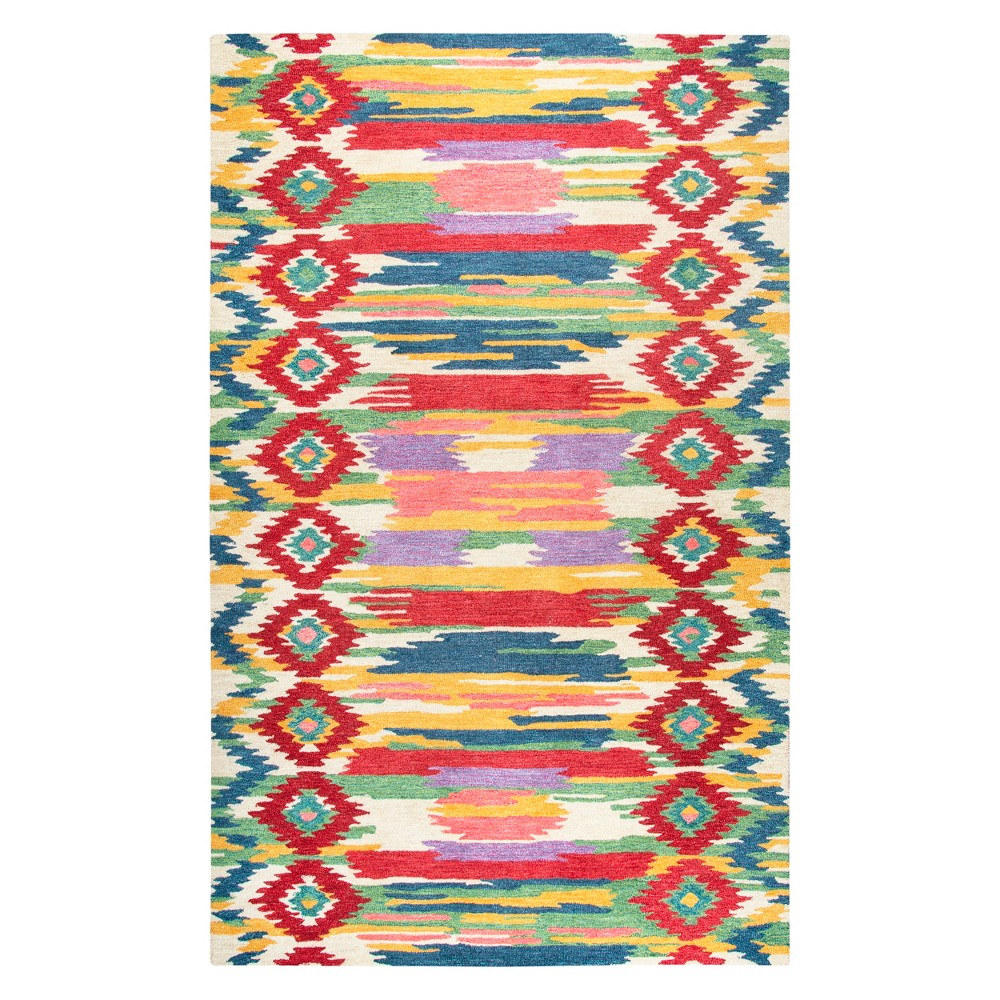 Natural Tribal Tufted Area Rug - (3'x5') - Rizzy Home, Red White