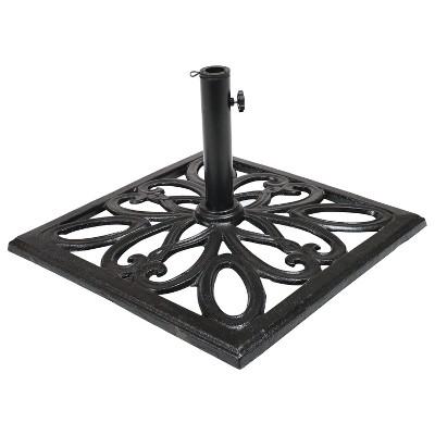 "Sunnydaze Outdoor Heavy-Duty Cast Iron Decorative Imperial Geometric Design Square Patio Umbrella Base - 16"" - Black"