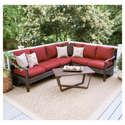 Augusta 5pc All-Weather Wicker Patio Corner Sectional Seating Set - Brown/Red - Leisure Made
