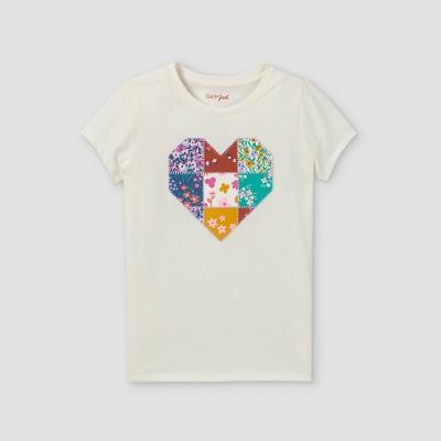 Girls' 'Floral Heart' Short Sleeve Graphic T-Shirt - Cat & Jack™ Cream
