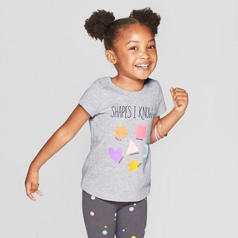 Toddler Girls' Short Sleeve 'Shapes' Graphic T-Shirt - Cat & Jack™ Gray - image 1 of 3