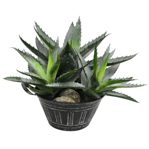 "Vickerman 10"" Artificial Green Succulent in Galvanized Pot. - image 1 of 2"