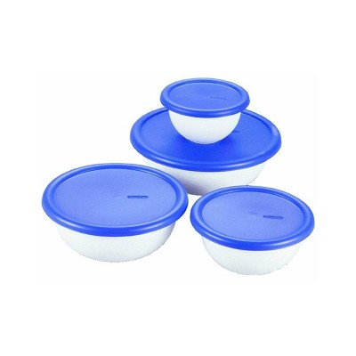 Sterilite 8-Piece Plastic Kitchen Covered Bowl Mixing Set w/ Lids & Spout