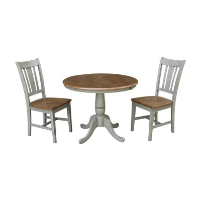 """36"""" 2pc Jade RoundExtendable Dining Table with San Remo Chairs Hickory Brown - International Concepts"""