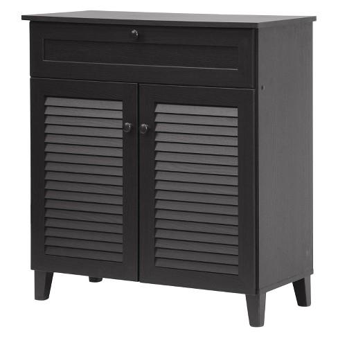 Calvin Shoe Storage Cabinet Espresso Baxton Studio