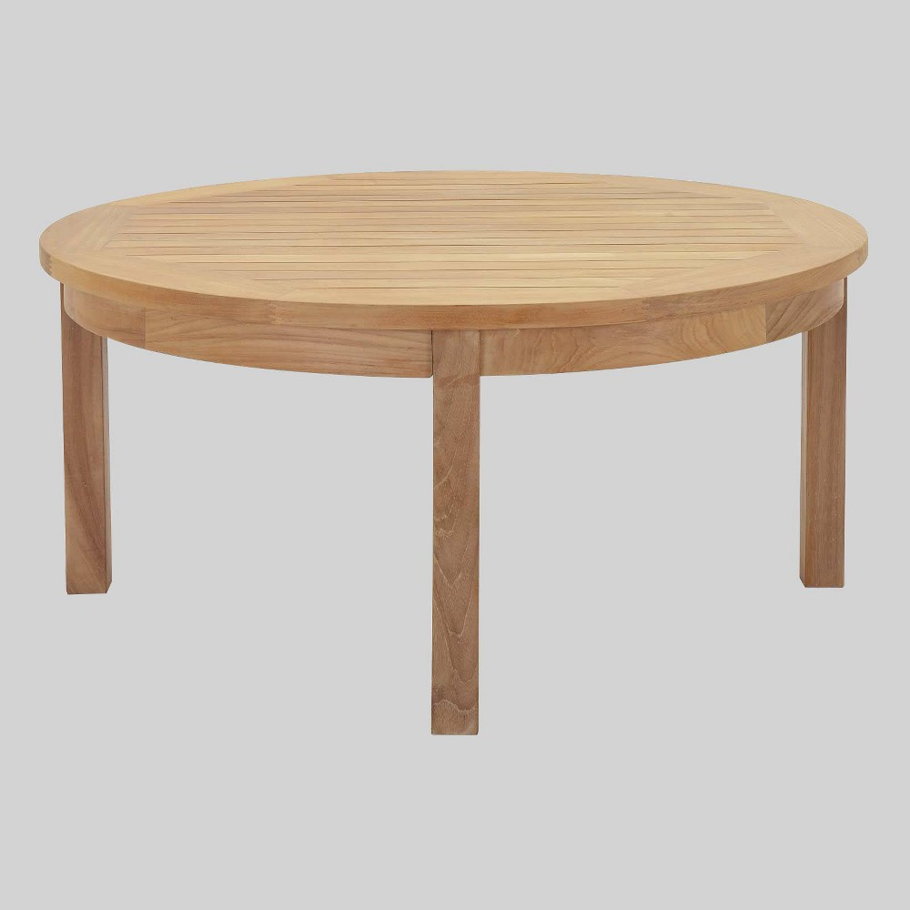 Marina Outdoor Patio Teak Round Coffee Table in Natural - Modway