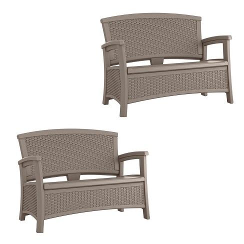 Marvelous Suncast Elements Wicker Design Loveseat With Folded Storage Dark Taupe 2 Pack Andrewgaddart Wooden Chair Designs For Living Room Andrewgaddartcom