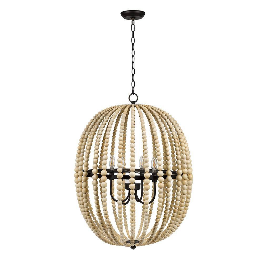 Image of Four Light Wood Bead Chandelier Natural - Cresswell Lighting, Beige