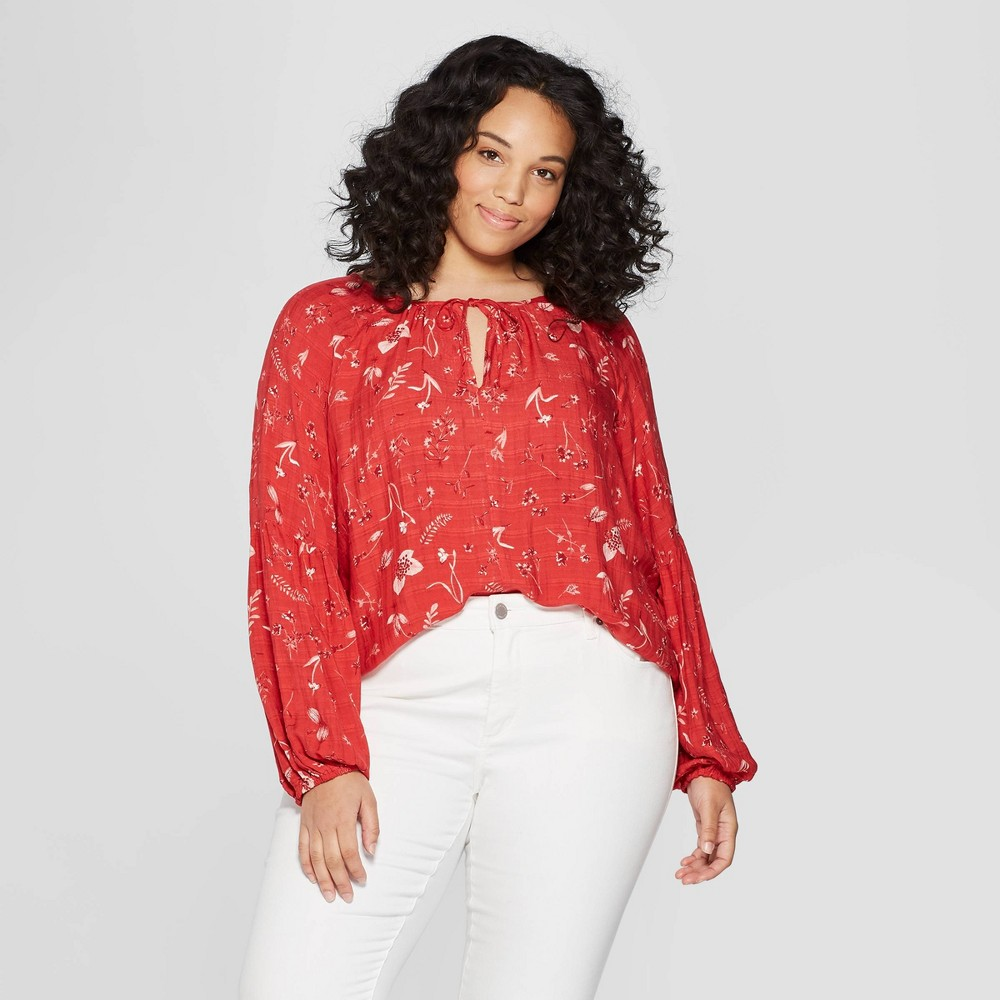 Women's Plus Size Floral Print Long Sleeve V-Neck Peasant Top - Universal Thread Red X