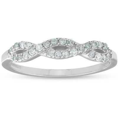 Pompeii3 1/4ct Infinity Diamond Wedding Stackable Ring 14K White Gold