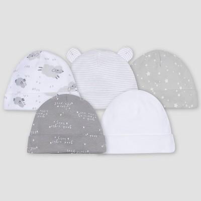 Gerber Baby 5pk Lamb Caps - White/Gray