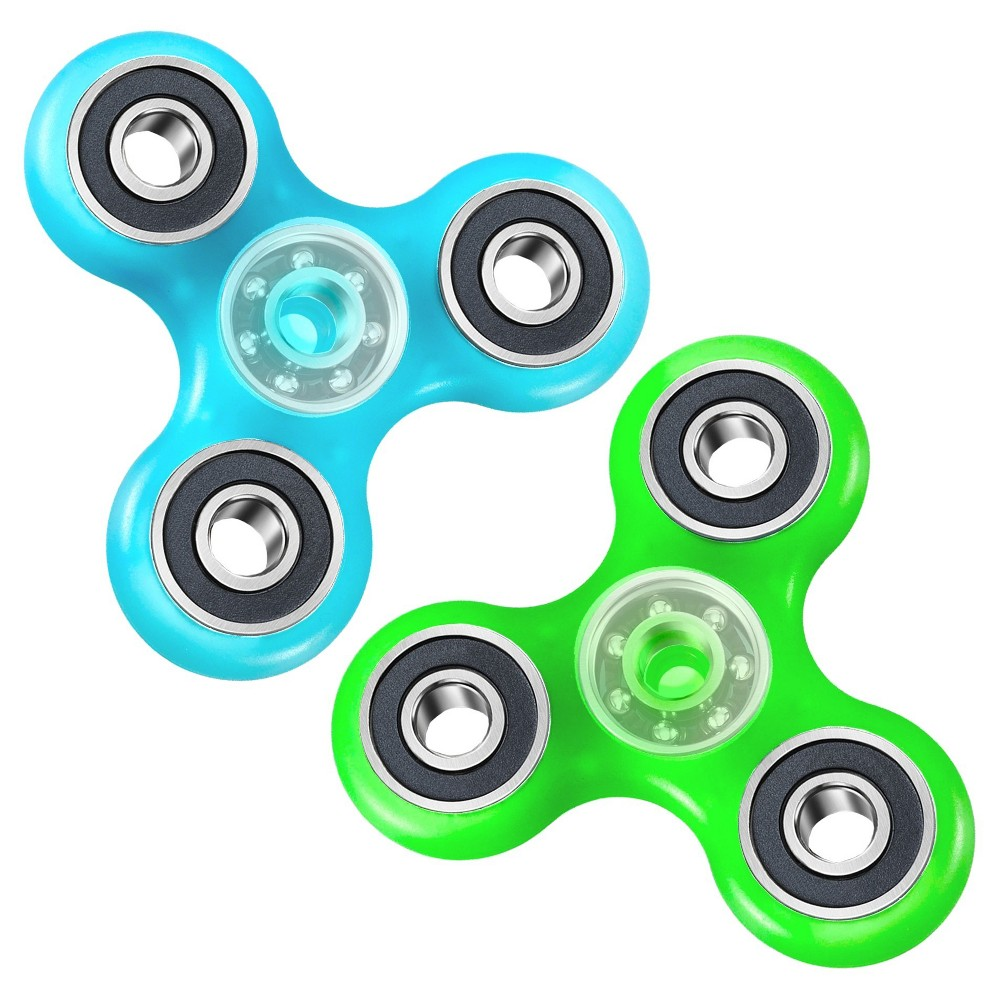 Fidget Spinner Wild Glow in the Dark 2 Pack - Colors Will Vary, Multi-Colored