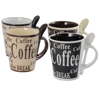 Gibson Home 13oz 8pk Stoneware Bareggio Coffee Mugs with Spoon Set