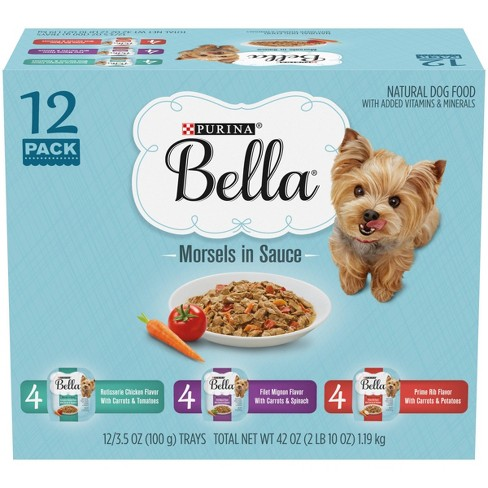 Purina Bella Morsels Chicken, Filet Mignon & Prime Rib Wet Dog Food - 3.5oz/12ct  Variety Pack - image 1 of 4