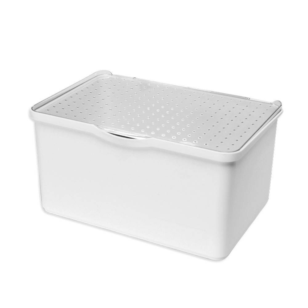 Image of Medium Stacking Bin with Lid Clear/White - Madesmart