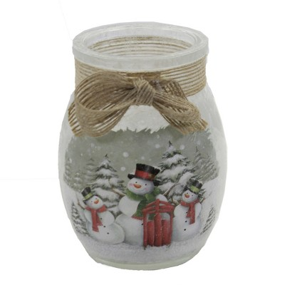 "Stony Creek 4.0"" Pine Trees Snowman Pre-Lit Jar Christmas Winter Snow  -  Decorative Vases"