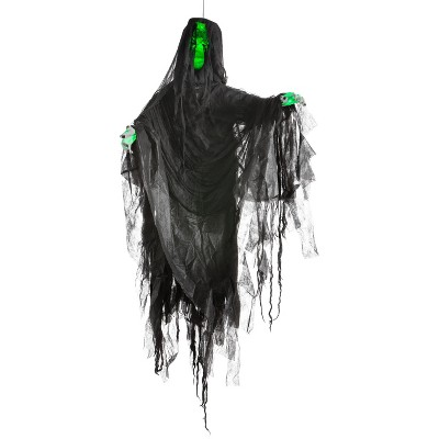 Gemmy Hanging Illusion Face Black Ghoul (Green), black