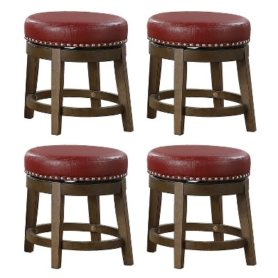 Lexicon Whitby 18 Inch Dining Height Round Swivel Seat Bar Stool, Red (4 Pack)