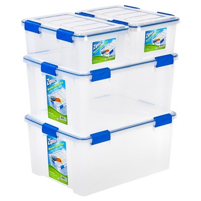 Ziploc 16 Qt & 60 Qt WeatherShield Clear Storage Box - Set of 4
