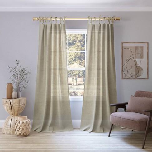Bethany Slub Textured Linen Blend Sheer Tie Top Curtain Panel - No. 918 - image 1 of 4