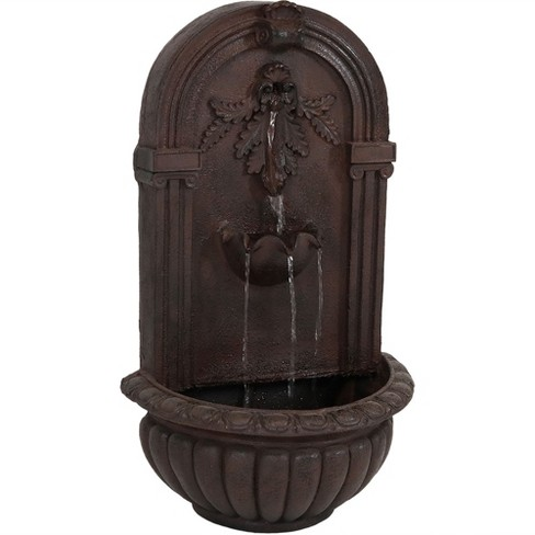 "27""H Polystone Florence Wall-Mounted Electric Water Fountain - Iron Finish - Sunnydaze Decor - image 1 of 4"