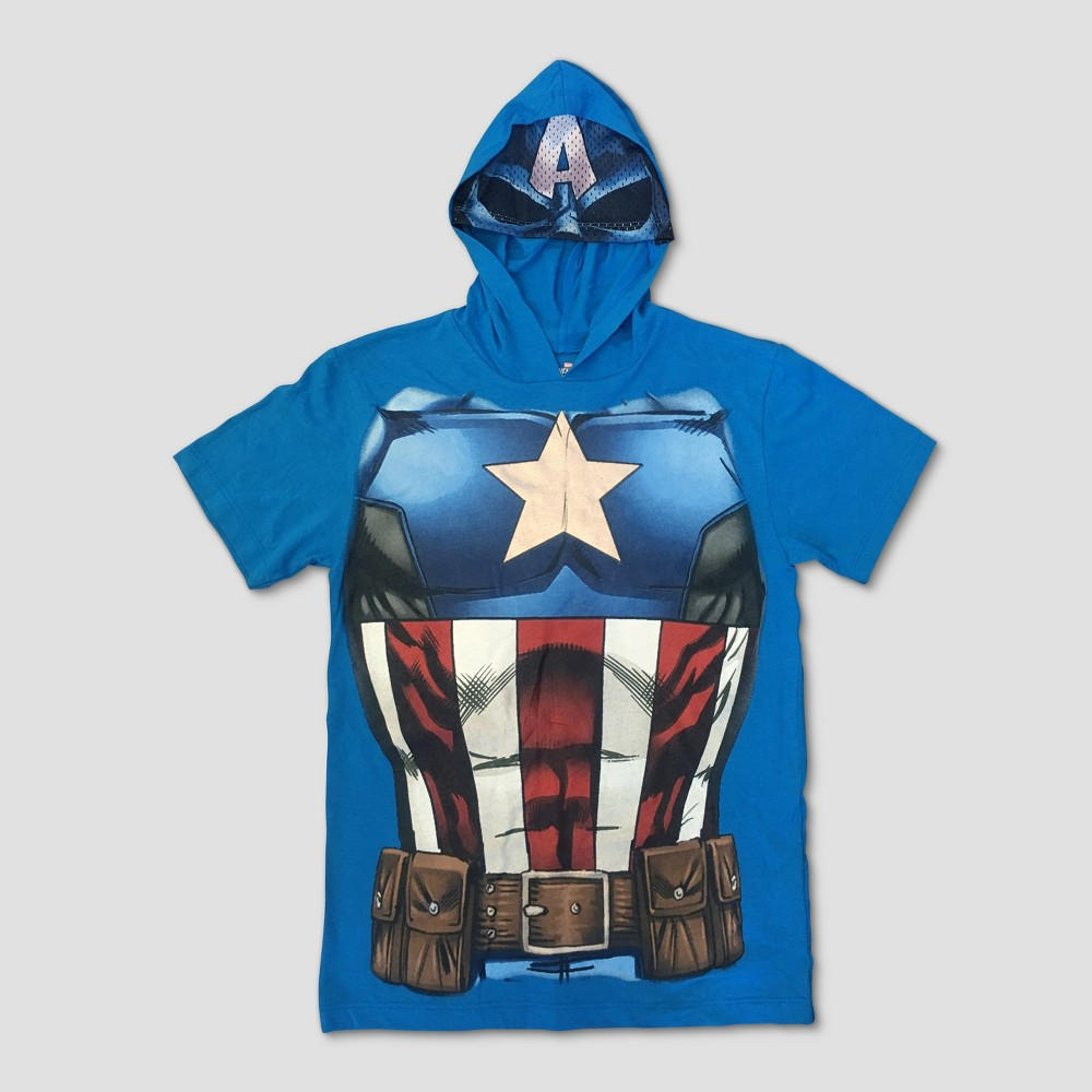 Boys' Captain America Short Sleeve Hooded T-Shirt - Blue L