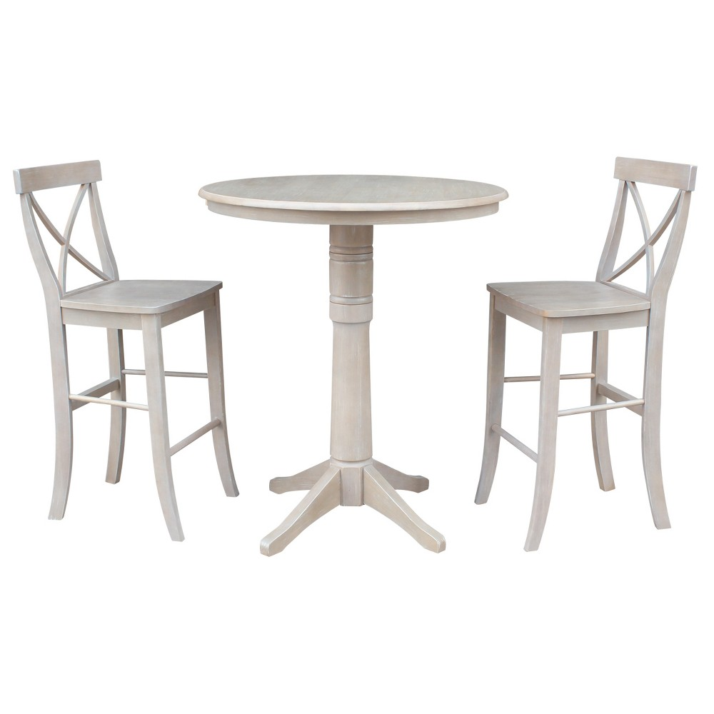 3pc Round Top Solid Wood Pedestal Bar Height Table and 2 X Back Stools Washed Gray Taupe - International Concepts