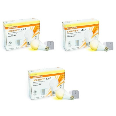 Sylvania Lightify LED Smart WIFI Connection Gateway A19 Bulb Starter Kit 3 Pack