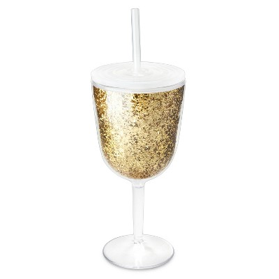 True Fabrications 10oz Plastic Wine Glass With Straw - Gold