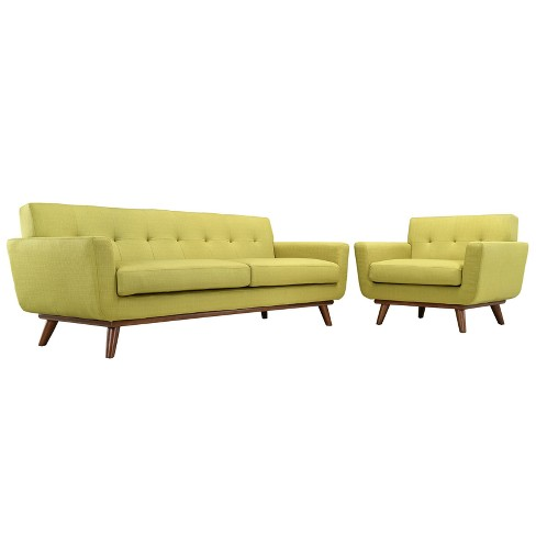 Engage Armchair and Sofa Set of 2 Wheatgrass - Modway - image 1 of 7