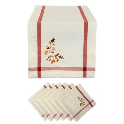 Embroidered Fall Leaves Bordered Table Set Natural - Design Imports