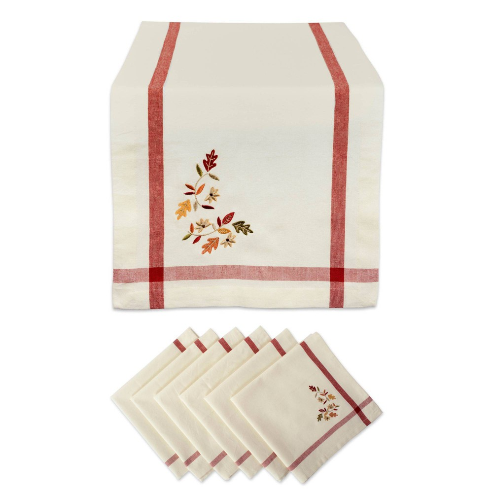 Image of Embroidered Fall Leaves Bordered Table Set Natural - Design Imports