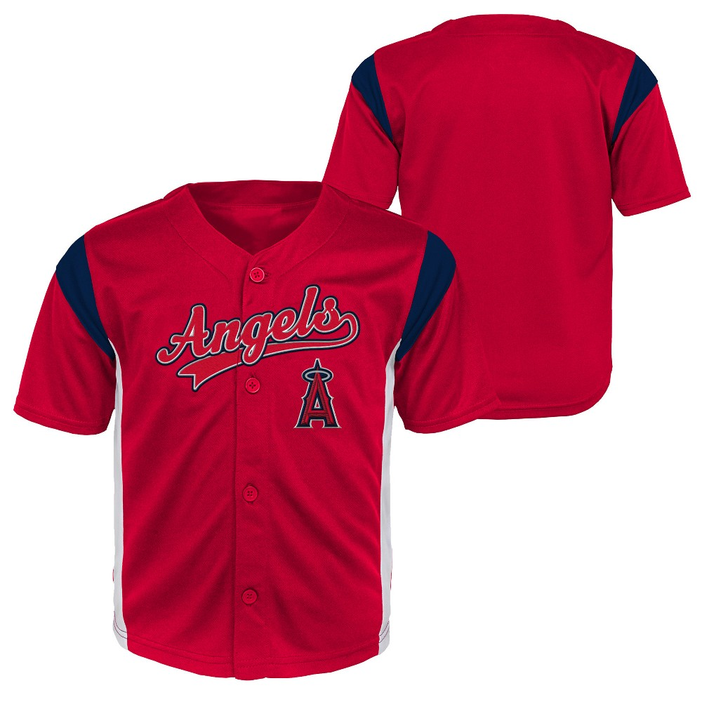 Los Angeles Angels Toddler Boys' Short Sleeve Button-Down Jersey - 3T