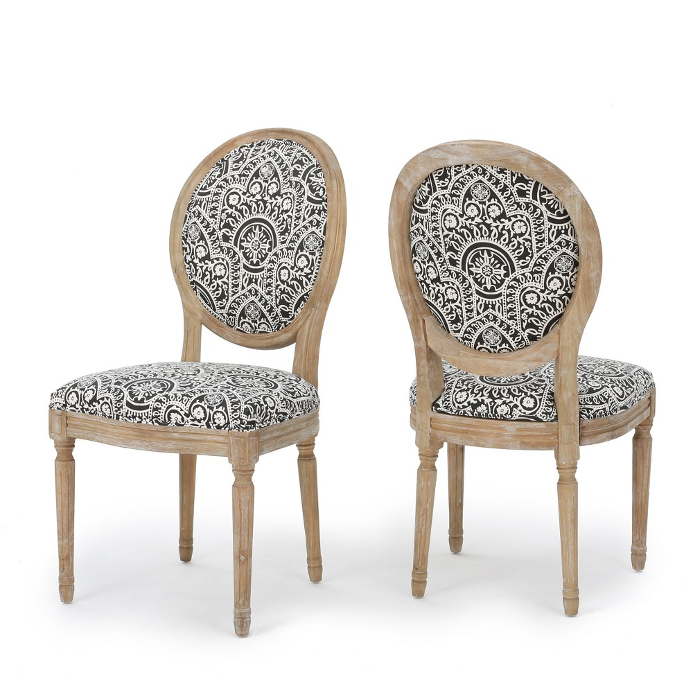 Phinnaeus Dining Chair - Black/White (Set of 2) - Christopher Knight Home