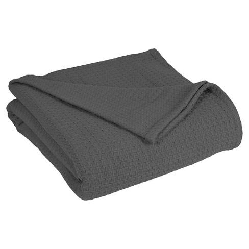 Grand Hotel Cotton Solid Blanket (Twin) Dark Gray - Elite Home&#174 - image 1 of 1