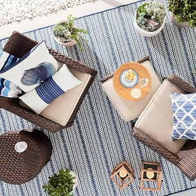 Beau Pattern Stripe Blue Outdoor Rug   5u0027x7u0027   Threshold™ : Target